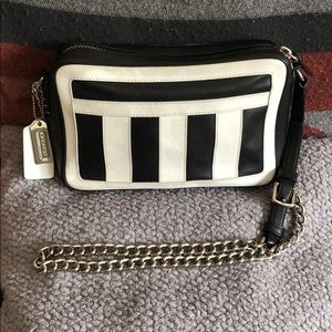 Coach black & white camera bag w/ chain strap